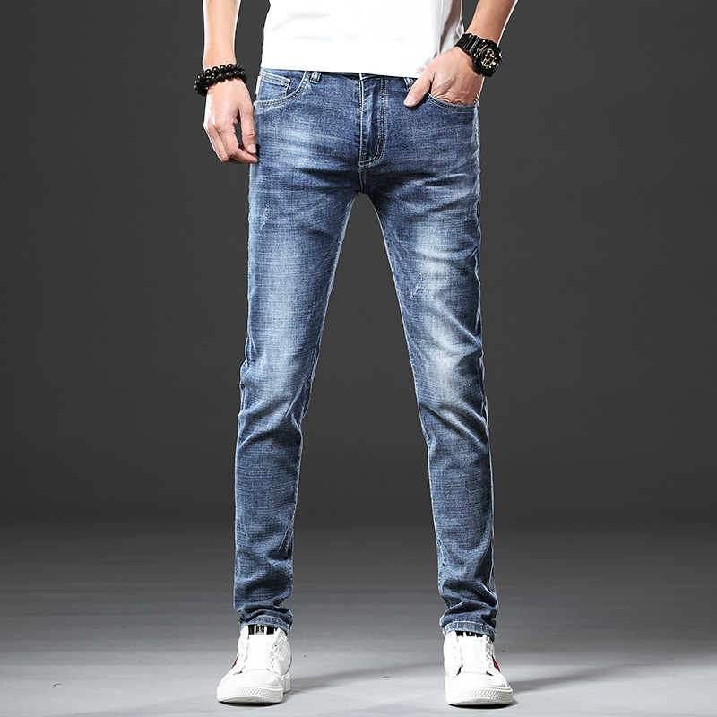 2019 Autumn And Winter New Style MEN'S Jeans Korean-style Slim Fit Pants Trousers Trend Casual Elasticity Jeans Men's Trousers