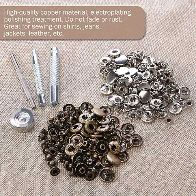 50set silver metal snap button installation tool Sewing bronze Snap Button Press Stud Leather Craft Bag Coat Clothes 633/655/831