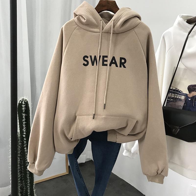 2019 Winter Women Hoodies Sweatshirt Casual Long Sleeve Slim Pullovers Sweatshirt  Womens Clothing