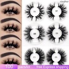 Visofree 100pairs/lot 25 mm mink eyelashes makeup lashes wholesale false eyelashes maquillaje faux cils beauty mink lashes bulk