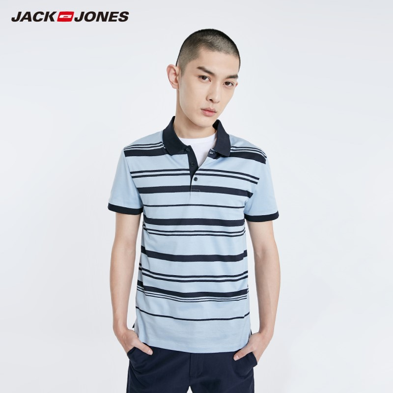 JackJones Men's 100% Cotton Style Striped Turn-down Collar Short-sleeved Polo-shirt| 219106502
