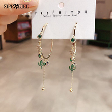 Fashion Summer Hot Sell  Green Cactus And Coconut Tree Stud Earrings Big Circle With 6 Sets Earrings For Women Accessories 2020