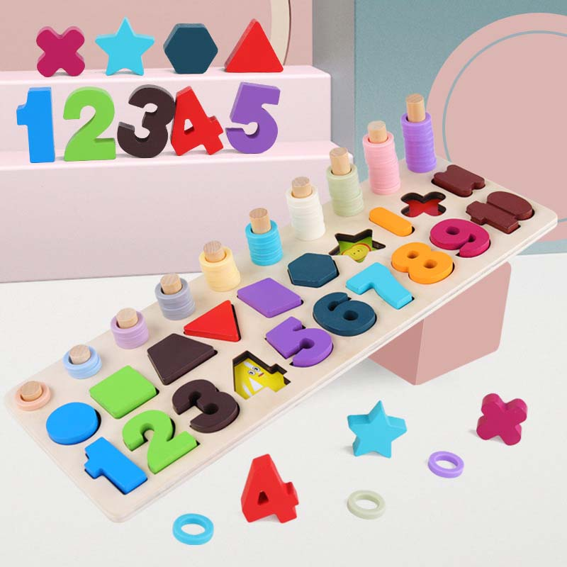 Montessori Wooden Maths Toys 3D Wood Count Geometric Shape Cognition Puzzle Games Teaching Math Educational Toys For Children