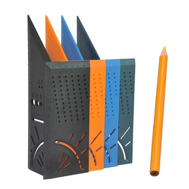 Woodworking Scriber Mark Line Gauge Caliper Ruler Square Layout Miter 45 + 90 Degree Metric Gauge Carpenter Measuring Tool