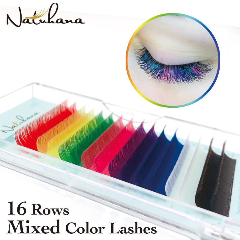 NATUHANA 16rows Mixed Color Eyelash Extension Individual Colorful Synthetic Mink Eyelashes Colored Fales Lashes For Makeup Salon