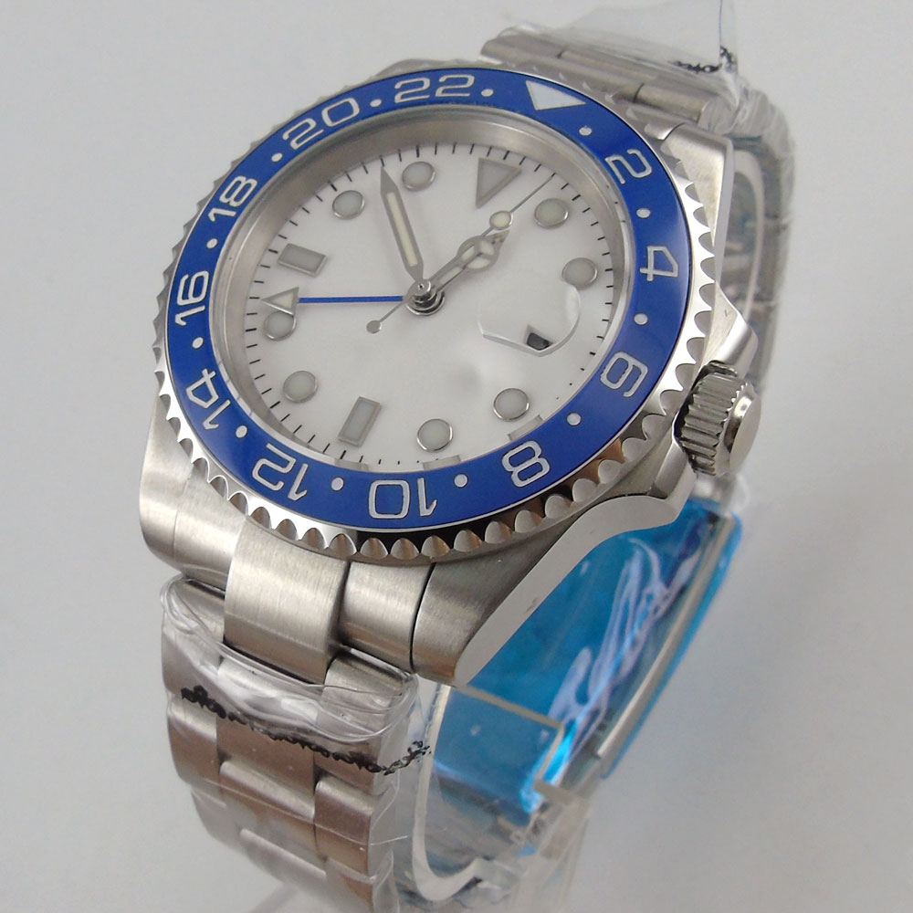 40mm branco estéril dial azul gmt relógio