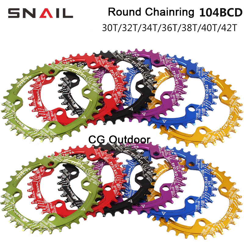 6 Color BCD104MM MTB Mountain Bike Tooth Plate Round Chainrings <font><b>32T</b></font> to 42T Chainwheel Crankset Chain Ring Bicycle Accessories image