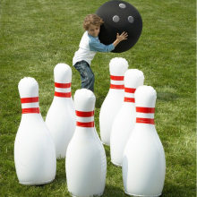 "Novelty Place Giant Inflatable Bowling Set for Kids Outdoor Lawn Yard Games for Family Jumbo 22"" Pins & 16"" Ball Christmas Gift(China)"
