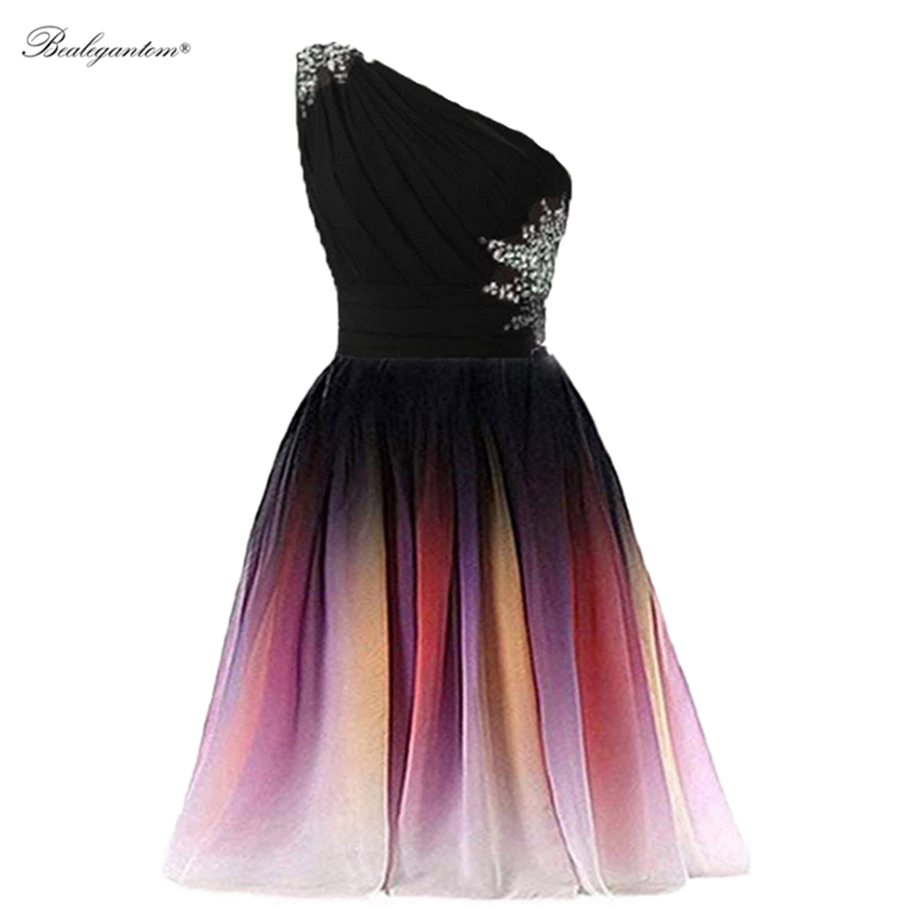 BM 2021 Sexy Short Gradient Chiffon Prom Dresses Beaded Strap Back Plus Size Ombre Formal Evening Party Gown BM371