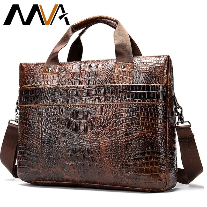 MVA Male briefcase Bag men s genuine leather bag for men leather laptop bags office bags MVA Male briefcase/Bag men's genuine leather bag for men leather laptop bags office bags for men Crocodile Pattern handbag 5555