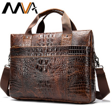 MVA porte documents pour hommes, sac en cuir véritable, sac de bureau à motif Crocodile, sac à main housses dordinateur en cuir