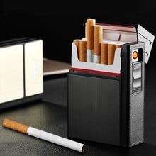Портативный металлический чехол для прикуривателя, 20 шт., футляр для сигарет, автоматические ветрозащитные зажигалки из сплава, USB-зарядка, ...