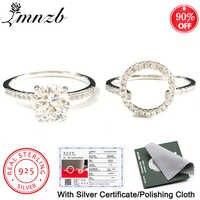 LMNZB с сертификатом, 2 в 1, набор колец, оригинал, 925 Твердое Серебро, 2.0ct, кубический цирконий, обручальное кольцо для женщин LZR200