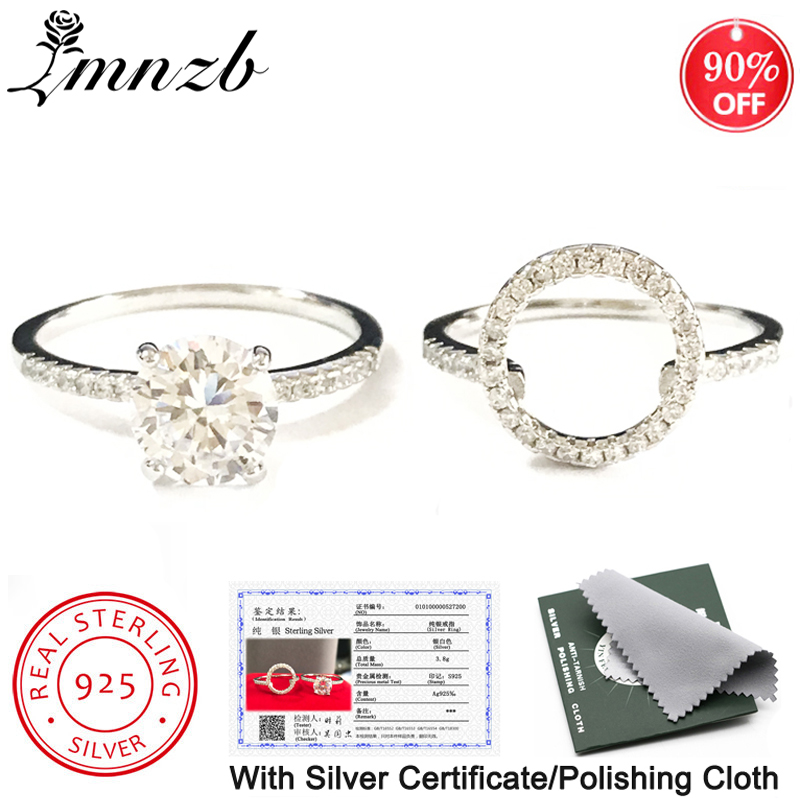 LMNZB With Certificate Statement 2-in-1 Ring Set Original 925 Solid Silver 2.0ct Cubic Zirconia Wedding Ring For Women LZR200