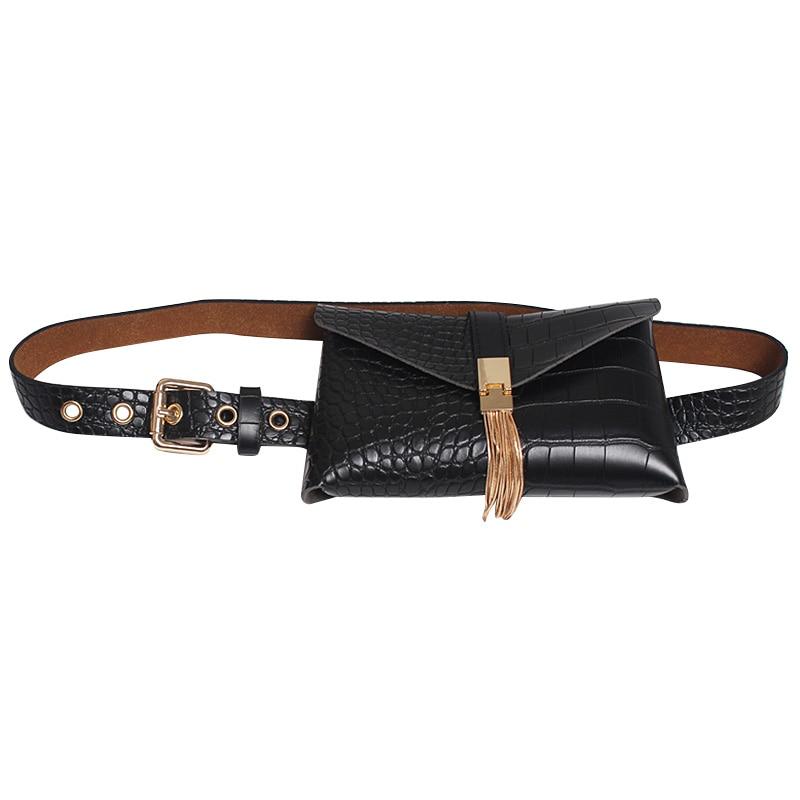 BEAU-Ladies Fashion Fanny Packs Tassel Waist Pack Phone Pocket Leather Belt Bag For Women PU Wild Waist Bags