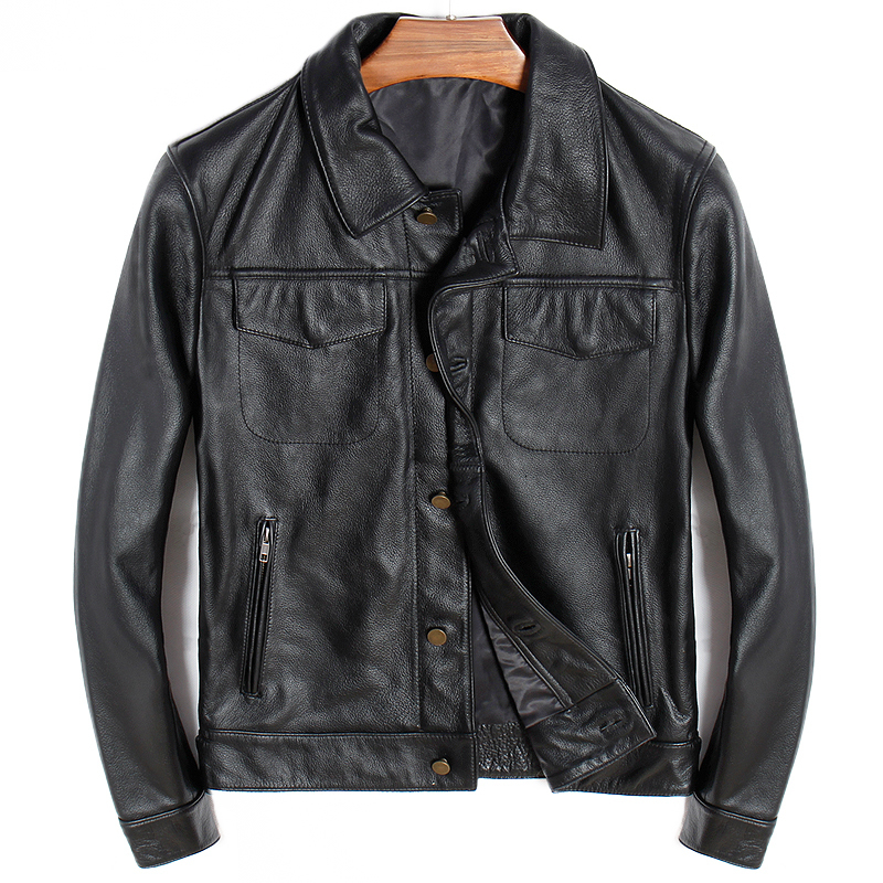 Factory 2020 New Men Casual Cow Leather Jacket 100% Genuine Leatehr Riding Biker Lapel Jackets Russia Free Shipping