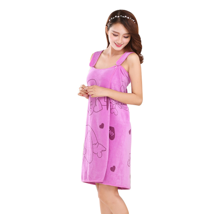 Newly Women Fast Drying Rabbit Wearable Bath Towel Shower SPA Wrap Body Beach Bathroom Bathrobe XSD88