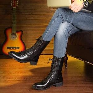 Image 2 - Thương hiệu Ý thiết kế nhà cao cấp thời trang Giày cổ cao da thật chính hãng Da Giày buộc dây thu đông dài Boot zapatos de hombre bota masculina