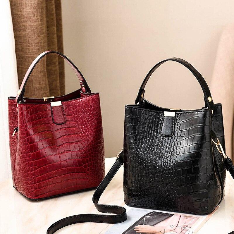 SHUJIN Retro Bucket Bags Women Pattern Handbag High Capacity Casual Crocodile Shoulder Messenger Bags Ladies PU Purse