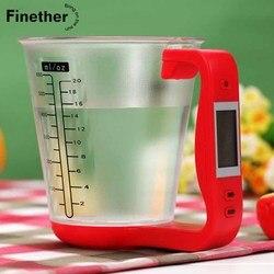 מדידה להסרה כוס מטבח מאזניים דיגיטלי כוס מאזניים אלקטרוניים בקנה מידה כלי עם LCD תצוגת טמפרטורת מדידה כוסות