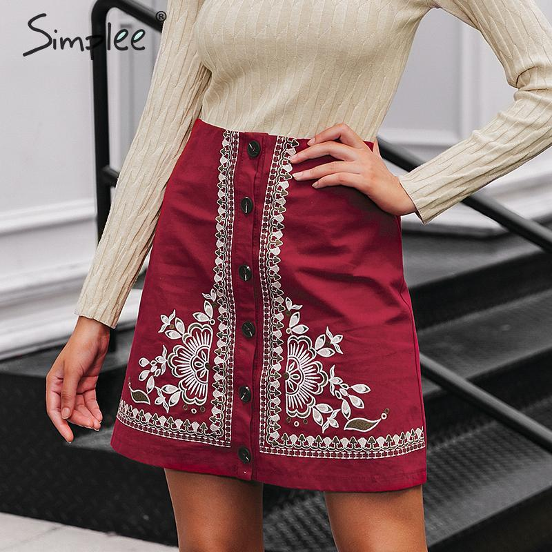 Simplee Enthic Vintage Floral Embroidery Women Short Skirt A-line Button Female Mini Skirt High Waist Ladies Bohemian Skirt 2019