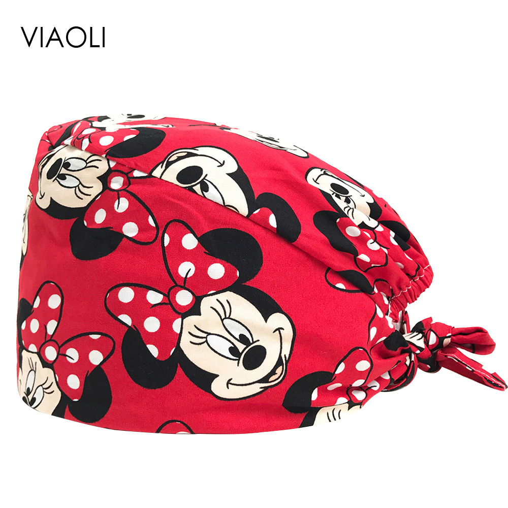 VIAOLI Print Black Tieback Elastic Section 100% Cotton Surgical Caps Scrub Caps For Men Women Hospital Medical Hats Arrival 034