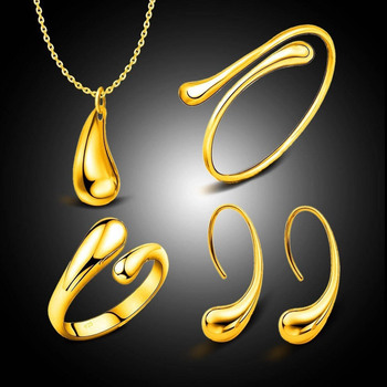 4Pcs/Set Hot Sale Fashion Women Teardrop Charm Necklace Earrings Opening Ring Bracelet jewelry sets necklace set hot