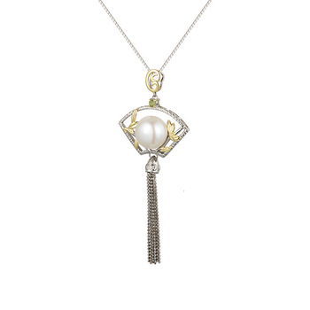 Antique 925 Sterling Silver Pearl Fan-shaped Tassels Pendant Original Design Chinese Style Pendants Fine Jewelry For Women Gift