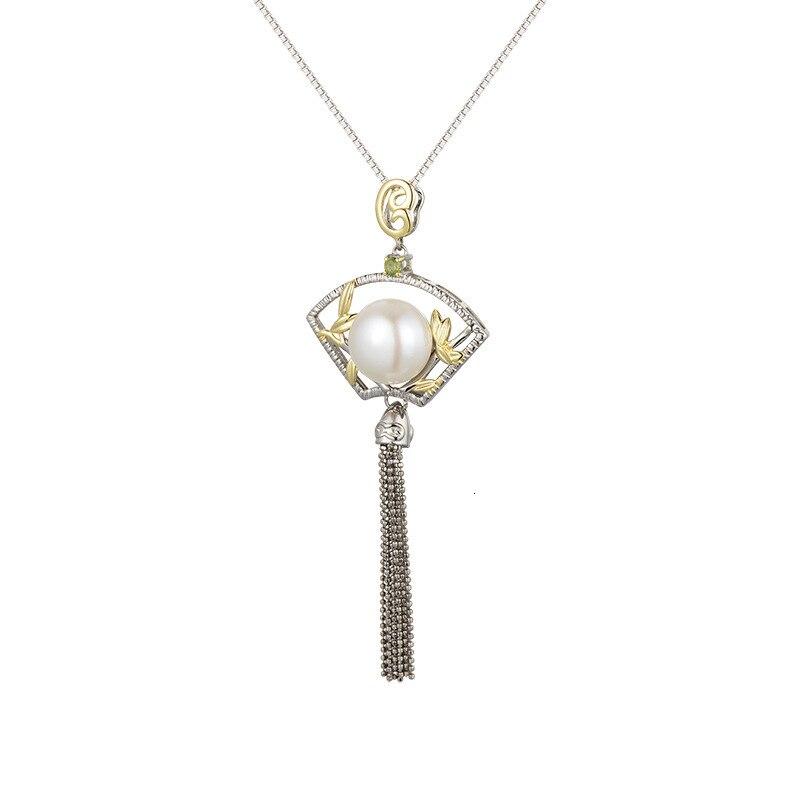 Antique 925 argent Sterling perle en forme d'éventail glands pendentif Design Original Style chinois pendentifs bijoux fins pour les femmes cadeau