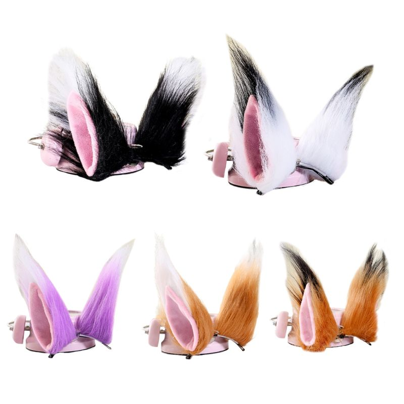 1 Pair Contrast Color Cat Wolf Ears Long Fluffy Plush Hair Clips Anime Cosplay Costume Hair Clip Multicolor Cartoon Lolita Party