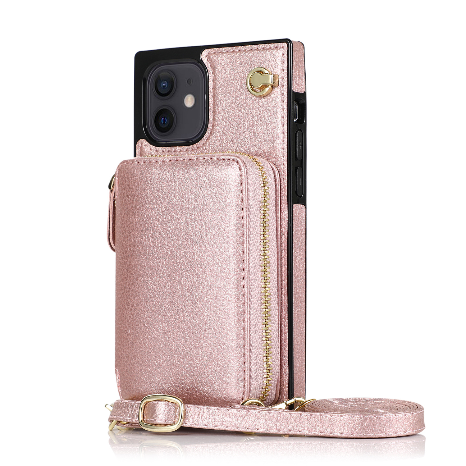 Card Slots Case For Iphone 12 11 Pro Max Wallet Crossbody Case Luxury Zipper Leather Bag Cover For Iphone 7 6 8 Plus X XS Max XR