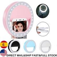 1/2 Uds. Anillo Universal para Selfie LED Flash Lumiere teléfono portátil LED Selfie lámpara luminosa anillo Clip para teléfono móvil Smartphone