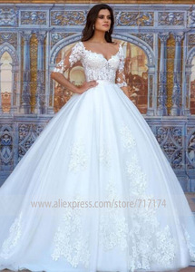 Image 2 - Robe de mariée avec des fleurs 3D, en Tulle, Illusion, à col rond, avec des boutons à larrière, Train Court, robe de mariée