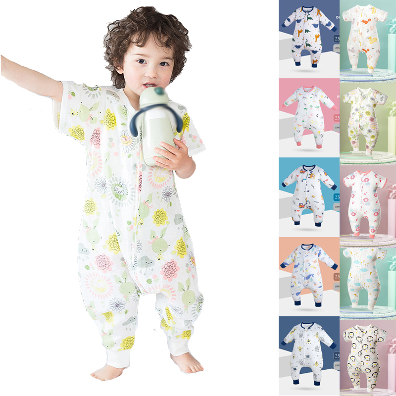 Summer Baby Pajamas 2 Layers Cotton Gauze Infant Short Sleeve Sleepwear 1 2 3 4 Years Old Kid Soft Breathable Romper New Arrival