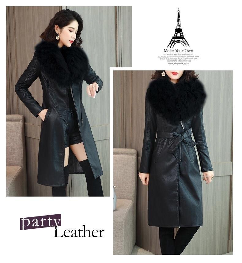 Hecc07f27d7274b4da6893003f14b5c1b4 Vangull Women's Leather Jacket for Winter 2021 New Plus Velvet Warm Slim Big Fur Collar Long Leather Coat Female Outerwear M-4XL