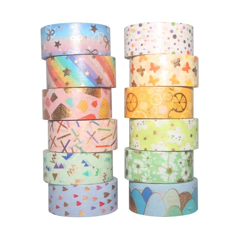 12Rolls/Set Coloful Gold Foil Washi Tape Set Paper Festival DIY Scrapbooking Adhesive Masking Tape Decorative Sticky Washi Tape