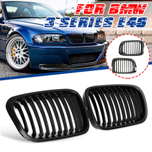 2pcs Gloss Black Front Kidney Grills Grille For BMW 3 Series E46 323i 325i 328i 330i 1999 2000 2001 AM 3476116147 Racing Grills
