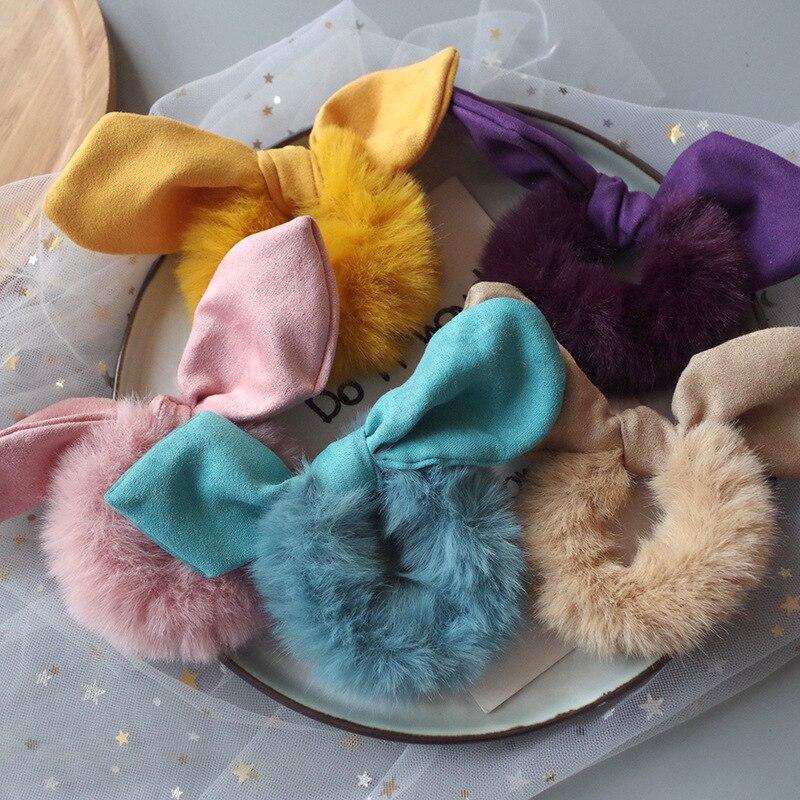 1PC Autumn Winter Cute Plush Cloth Art Rabbit Ear Women's Elastic Hair Bands Fashion Girls Ponytail Hair Accessories HeadWear