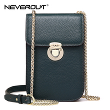 NEVEROUT Genuine Leather Mini Fashion Cellphones Purse Shoulder Bags Sac a Main Small Flap Bag Cross-body Messenger Bag Cases cумка daiwa ob flap bag a olive 7042