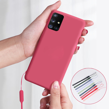 Płynnego silikonu miękkie etui dla OPPO A9 A5 2020 A92 A72 A52 A91 Realme X50 X2 5 3 Pro p X Lite XT A11 pokrywa pasek na szyję smycz obudowa TPU tanie tanio olhveitra CN (pochodzenie) Aneks Skrzynki Slim Cover Coque on for oppo a9 2020 Zwykły Odporna na brud Anti-knock Liquid Silicone Shockproof Soft Phone Case