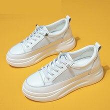 Mode Weiß Atmungs Net Turnschuhe Frauen Low-Ferse Flache Plattform Damen Spitze-Up Mode Weiße Schuhe Zapatos De mujer Zapatos