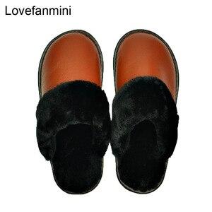 Image 2 - Hakiki Inek Deri terlik çift kapalı kaymaz erkekler kadınlar ev moda rahat ayakkabılar PVC yumuşak tabanı kışlık 611GP