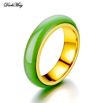 DarkMag artificial Green Jade Ring Chinese Jadeite Amulet Fashion Charm Stainless Jewelry Hand Carved Crafts Gifts for Women Men image