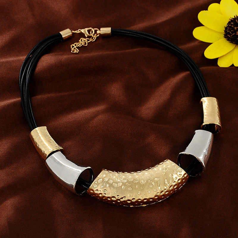Modna biżuteria ze stopu geometryczna skórzana linka krótki naszyjnik łańcuszek do obojczyka dla mężczyzn i kobiet stosuje etniczną afrykańska biżuteria