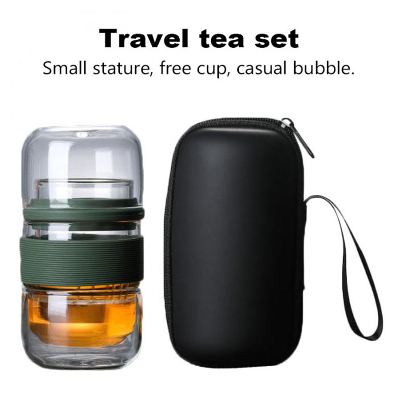 Delicate Travel Teaware Sets With Carring Cases Heat-resistant Glass Teapot With Small Glass Filter Flower Tea Portable Teawares