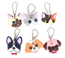100pcs Silicone Key Ring Cap Head Cover Keychain Case Cat Hamster pet Dog Animals Shape Lovely Jewelry Gifts wholesale(China)