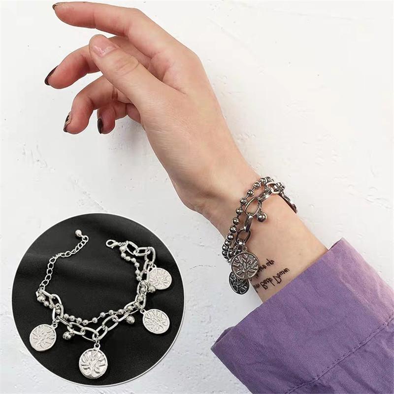 Life tree Europe and America retro bracelet Fashion wild metal double life tree pendant men and women couple accessories