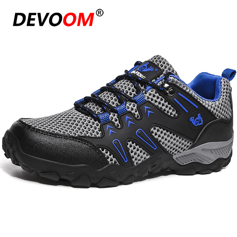 New Mens Hiking Shoes Outdoor Breathable Mountain Climbing Woodland Shoes Waterproof Trekking Sport Shoes Anti-Slip Sneakers Men