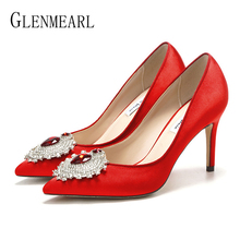 Купить с кэшбэком Women Wedding Shoes High Heels Rhinestone Brand Woman Pumps Pointed Toe Thin Heels Spring Summer Party Shoes Heels Plus Size DE