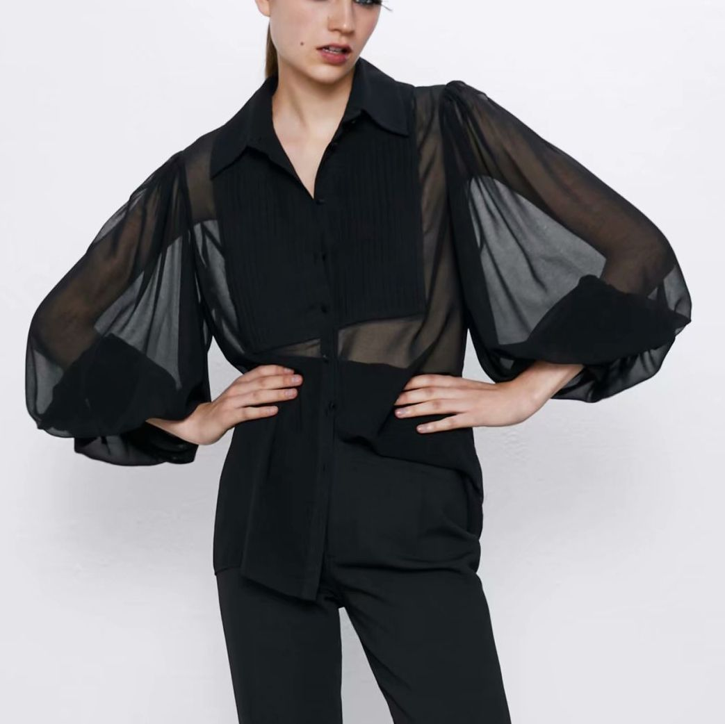Puff Long Blouse 2020 Tops Fashion Womens Lantern Sleeve Shirt Femininas Elegante See Through Top Women Sexy Shirt Spliced Full
